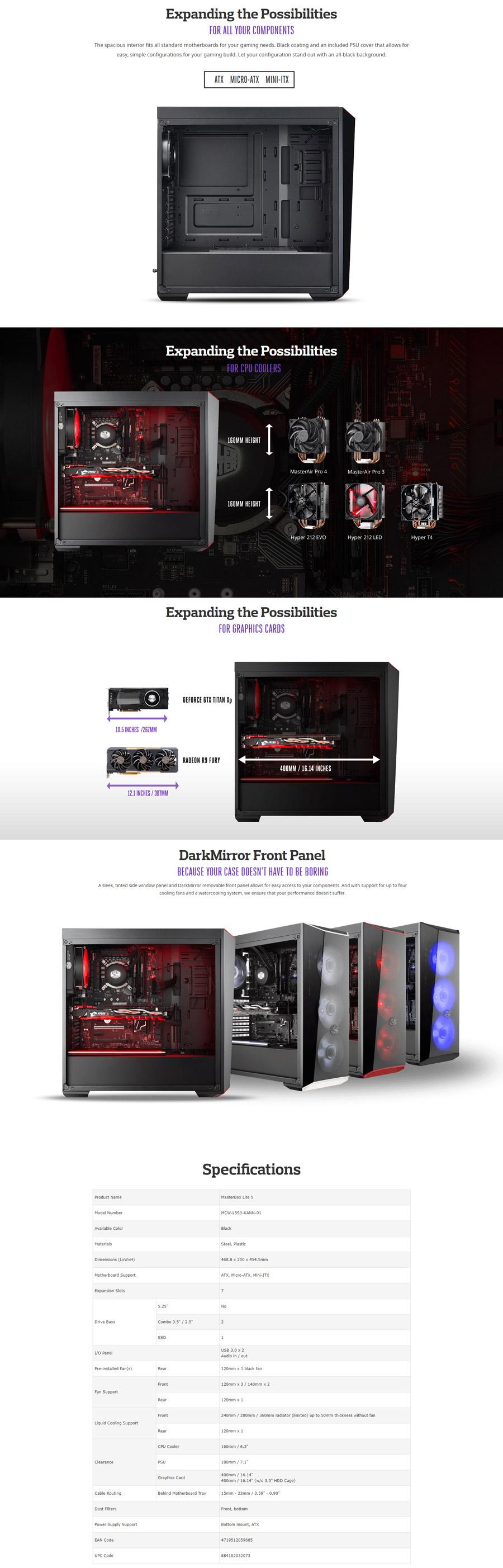 CoolerMaster MasterBox Lite 5 Black Red