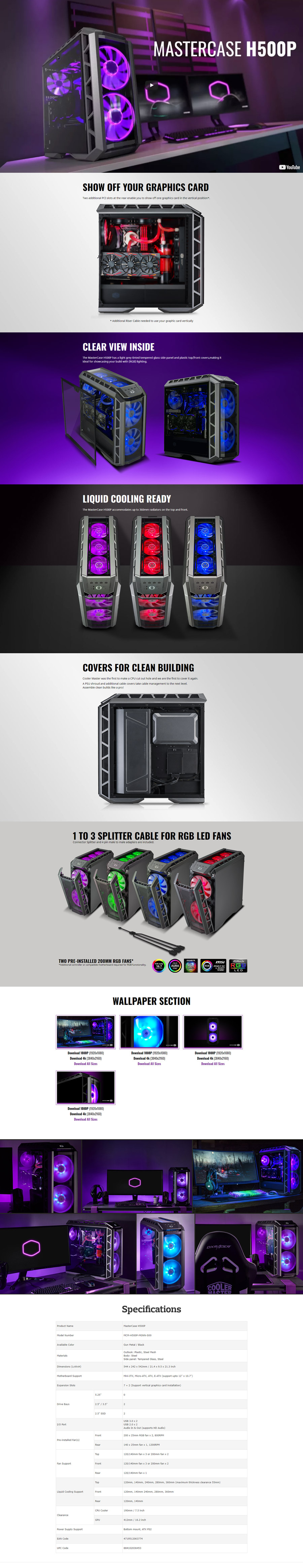 CoolerMaster H500P Black RGB Tempered Glass
