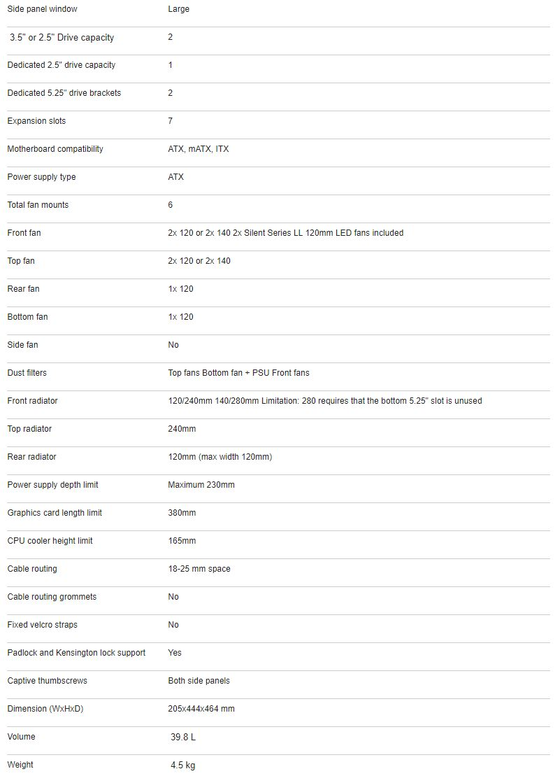 FocuS G Specifications