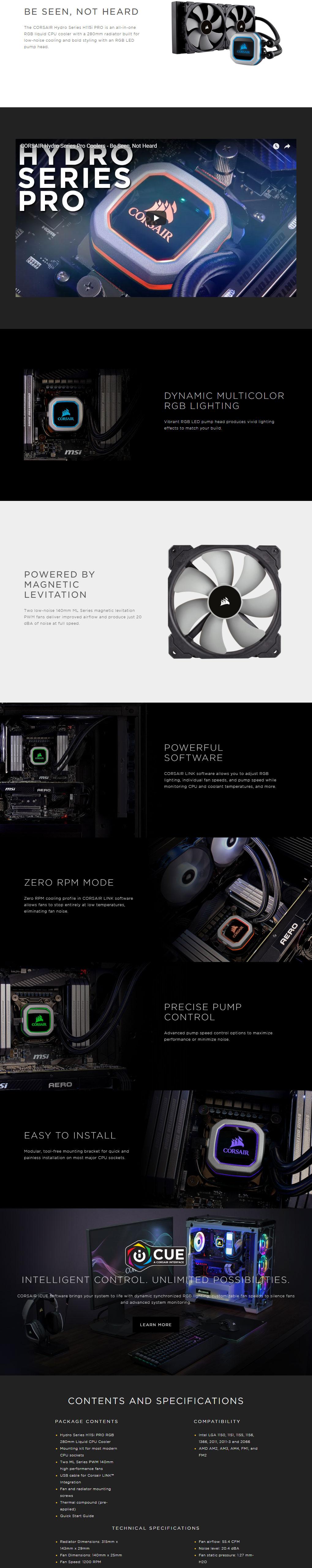 Buy Corsair H115i Pro RGB 280mm Liquid Cooler Online, Australia