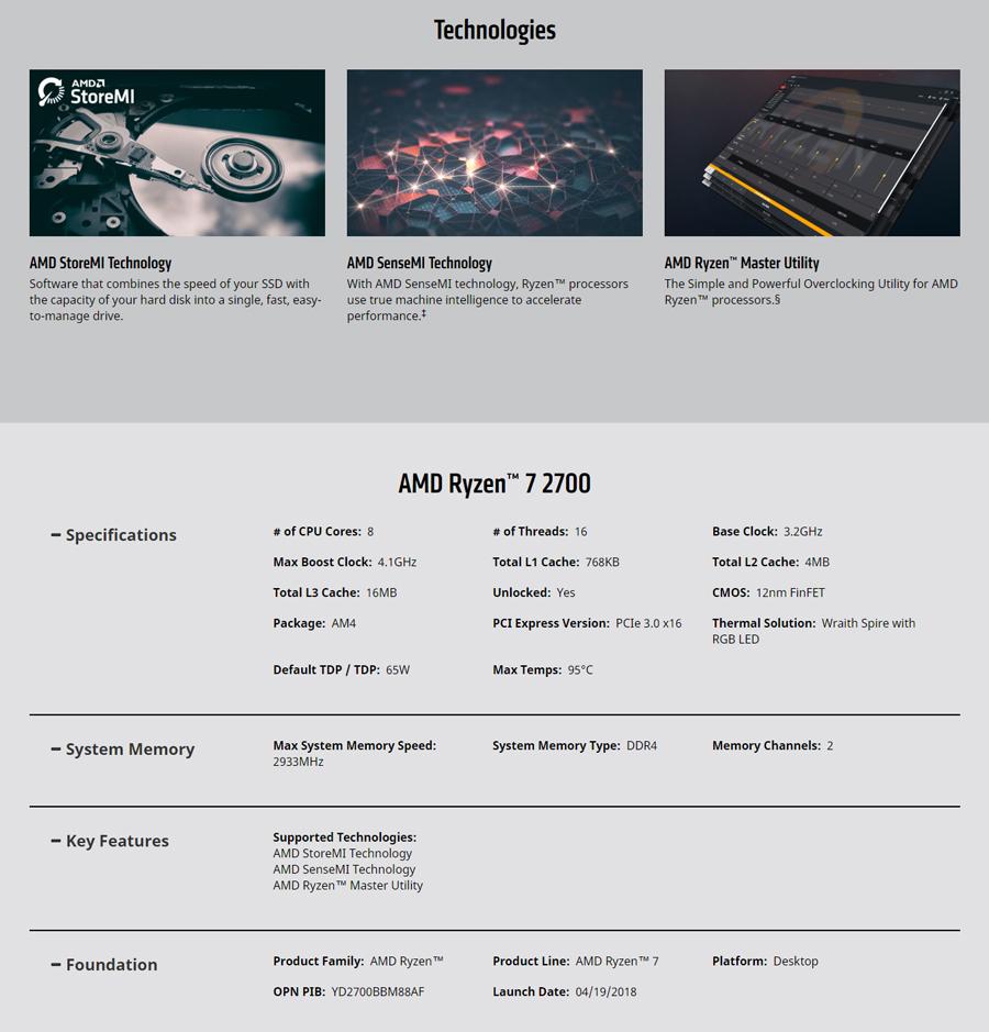 AMD CPU R7 2700