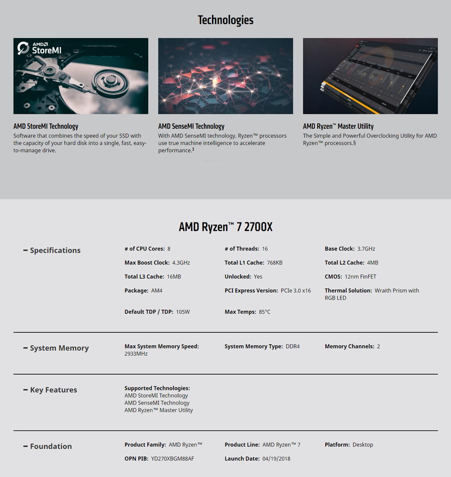 AMD R7 2700X CPU