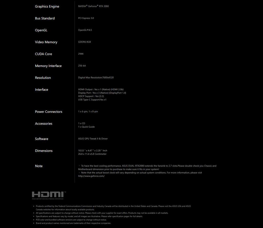 Asus RTX2080 Dual OC Spec