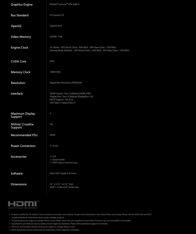 Asus Strix RTX 2080 TI OC Spec