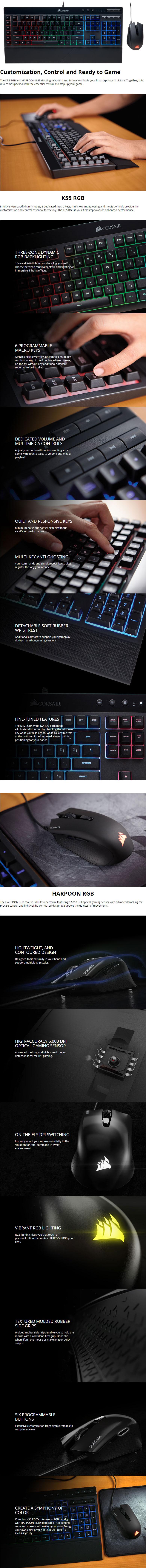 Buy Corsair K55 RGB Gaming Keyboard & Mouse Online