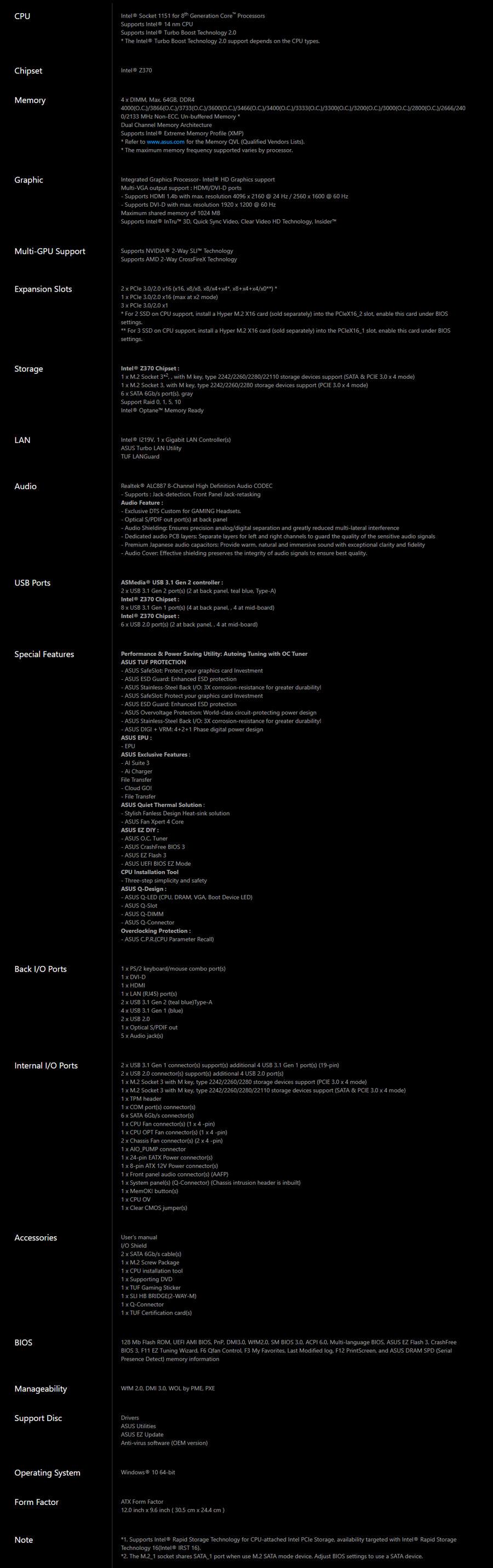 Asus Z370 TUF Gaming Pro Spec