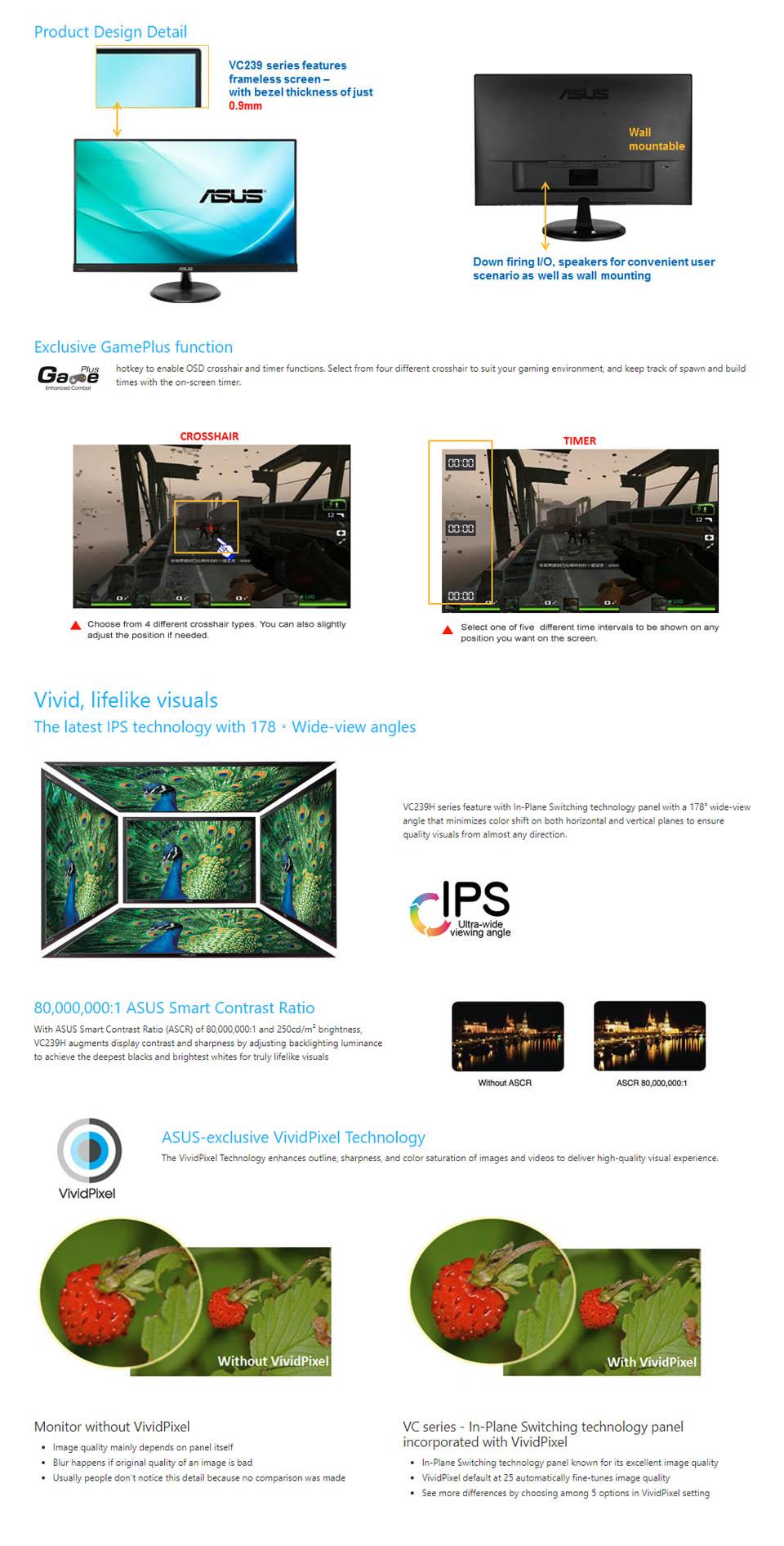 Buy Asus 23 Ips 1080p Vc239h Online Australia Monitor Eye Care Frameless Full Hd Speaker Tuv Gtg Response Time Flicker Free Technlogy Low Blue Light Modes Speakers Vesa 100mm Support Exclusive Gameplus And Hdmi