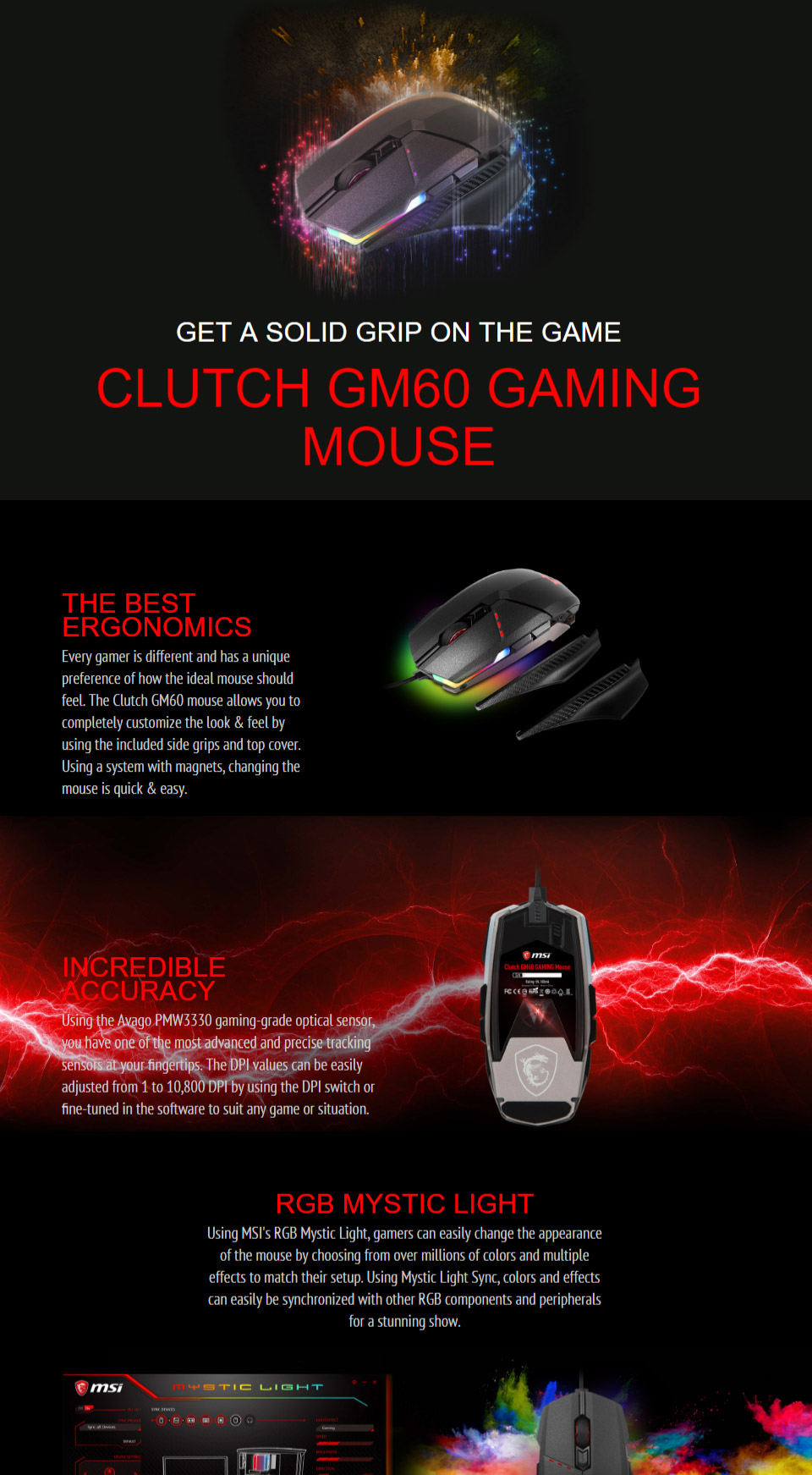 Buy MSI Clutch GM60 RGB Gaming Mouse Online, Australia - Evatech