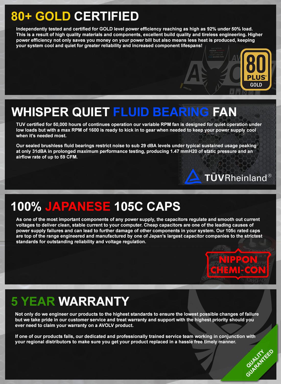 Avolv 550W Gold AV550 80 Plus Power Supply
